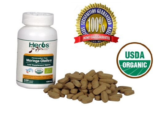 Herbs India - Moringa Oleifera Leaf Tablets - 100% Usda Certified Organic (Tablets, 1000 Mg)