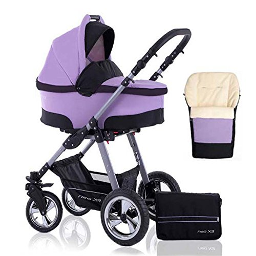 2 in 1 Kinderwagen Neo X3 - Kinderwagen + Sportwagen + Fußsack + GRATIS ZUBEHÖR in Farbe Lavendel-Schwarz