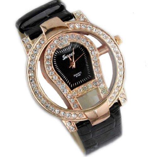 Hot Fashion Women Ladies Crystal Hollow Leather Quartz Wrist Watch-Black