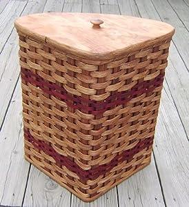 Amish handmade small corner hamper basket w fitted lid in red everything else - Corner hamper with lid ...