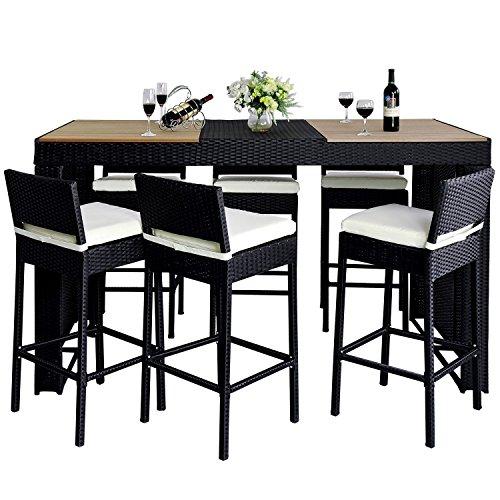 Outsunny - Set Mobili da Giardino in Poly Rattan 13pz Set da bar sgabelli tavolo nero