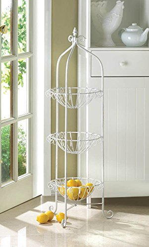 WHITE METAL THREE (3) CORNER BASKET PLANT STAND OR DISPLAY UNIT (White Basket Stand compare prices)
