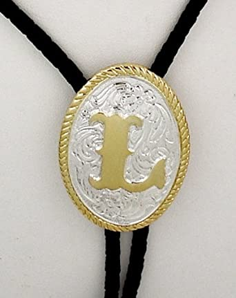 "Amazon.com: Silver/Gold Plated Monogram Letter ""L"" Bolo"