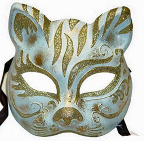 Venetian Masquerade Cat Mask With Light Blue & Silver Decor front-1017911