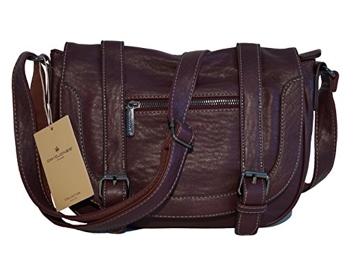 Borsa donna sportiva David Jones in ecopelle modello a tracolla - prugna