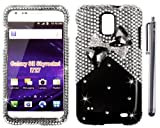 The Friendly Swede (TM) 3D Diamond Rhinestone Bling Case for Samsung Galaxy S2/SII Skyrocket (SGH-i727) + Matching Stylus + Tool in Retail Packaging (NOT Compatible with Any Other Galaxy SII Model) (Black and Silver Bow Tie)