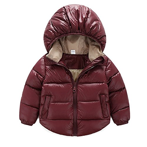 Toddler Baby Boys Girls Outerwear Hooded coats Winter Jacket Kids Clothes 12-18 Months Wine Red