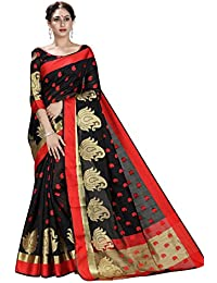 Shonaya Women's Woven Banarasi Art SIlk Black Designer Saree With Unstitched Blouse Piece