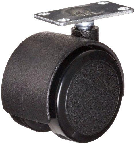 "E.R. Wagner TX050ABLXTPNXXX 2"" Diameter Black Nylon Wheel Light Duty Furniture Open Twin Swivel Plate Caster, 1-1/2"" Length X 1-1/2"" Width Plate, 75 lbs Capacity Range"