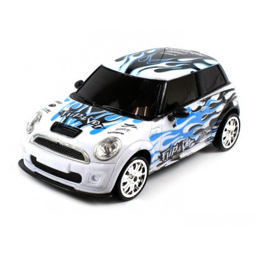 Electric Full Function 1:18 4WD Mini Cooper Graffiti RTR RC Drift Car Remote Control w/ Rechargeable Batteries and Extra Wheels and Tires (Colors May Vary)