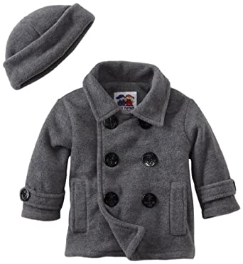Good Lad Baby-Boys Infant Peacoat with Hat, Gray, 12