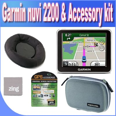 Garmin nvi 2200 3.5-Inch Portable GPS Navigator + Friction Dash Pad Mount + Zing Micro Fiber Cleaning Cloth + GPS Screen Protectors + Shock Proof Deluxe GPS Case!