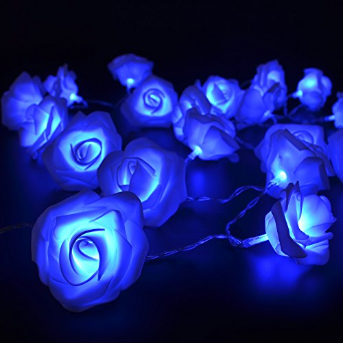 CrazyFire® 6.5ft/2.2m Rose Flower String Lights,20 LEDs Blue Wedding Decorations Lights For Chritsmas Wedding Halloween Patio Party Fairy String Lights