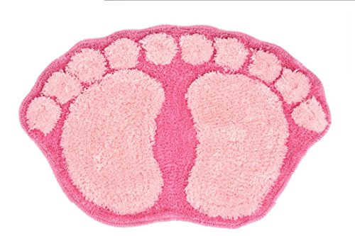ONEONEY Lovely Big Foot Mat Kitchen Bathroom Door Floor Bath Mat Bibulous Foot Print Carpet Mat(Pink) (Door Insulation Mat compare prices)
