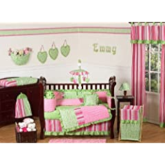 Funky Pink and Lime Green Olivia Boutique Baby Girl Bedding 9pc Crib Set by Sweet Jojo Designs