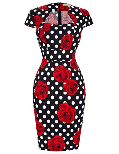 GRACE KARINWomen Vintage Dress Cap Sleeve BodyCon 50s Dresses CL7597 (XX-Large, C-11)