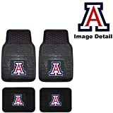 University of Arizona Wildcats UA College Sports Team Logo NCAA Collegiate Car Truck SUV Universal-fit Front & Rear Seat Heavy Duty Vinyl Floor Mats - 4PC