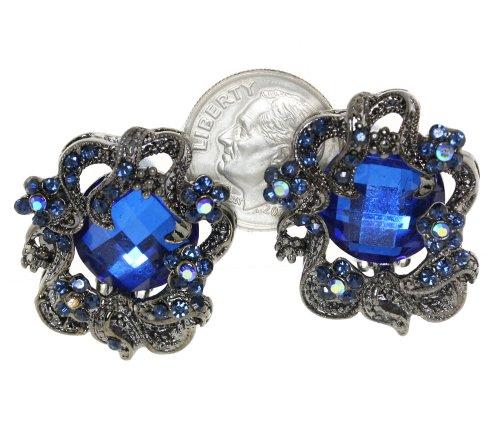 Ornate Art Nouveau Sapphire Blue Crystal