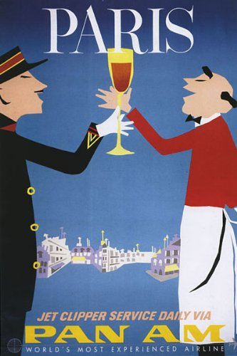 PARIS TRAVEL TOURISM WAITER WINE AIRLINE SMALL VINTAGE POSTER REPRO