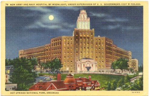 1940s Vintage Postcard - Army and Navy Hospital by Moonlight - Hot Springs National Park - Arkansas