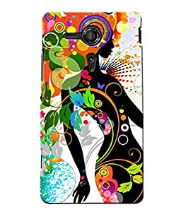 Fuson Pattern Girl Back Case Cover for SONY XPERIA SP - D3632