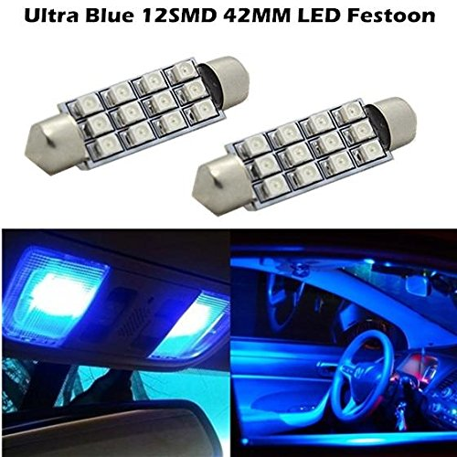Partsam 2x Blue 12SMD LED MAP/DOME INTERIOR LIGHTS BULBS/BULB 42MM FESTOON (Ford Escape Dome Light compare prices)
