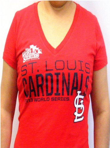 MLB St Louis Cardinals 2013 World Series Ladies V-Neck Tshirt Red by G-III (Large) at Amazon.com