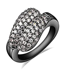 buy Women'S Luxury Crystal Black Gold Plated Stainless Steel Wedding Bands Eternity Promise Rings.Size 7 8 9