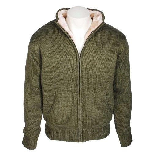 Fletcher & Lowe Mens Khaki Teddy Fur Fleece Lined Zip-Up Cardigan in Size Medium