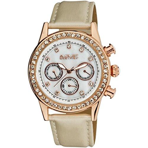 August Steiner AS8018WT 39mm Metal Case White Calfskin Mineral Women's Watch