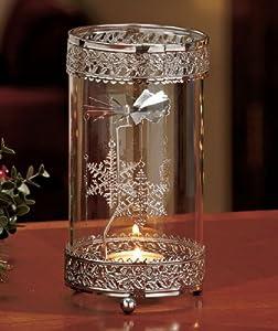 Metal Snowflake Spinning Tea Light Holder Seasonal Christmas holiday Decor