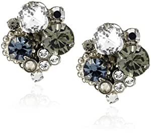 """Sorrelli """"Pewter"""" Crystal Cluster Clip Silver-Tone Earrings"""