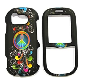 Black with Orange and Green Rainbow Peace Sign and Red with Purple and White Musical Note Rubber Texture Samsung U450 Intensity Snap on Cell Phone Case