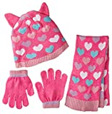 Toby & Company Girls' Critter Inspired 3 Piece Set with Computer Knit Hat, Pink, One Size