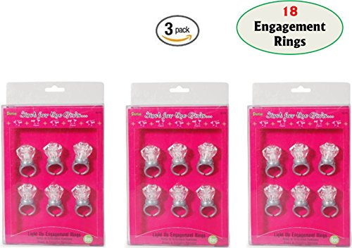 3 pack Darice VL2769, Just for the Girls LED -Light Emitting Diode, Engagement Ring 1.75, 6 Piece, Silver