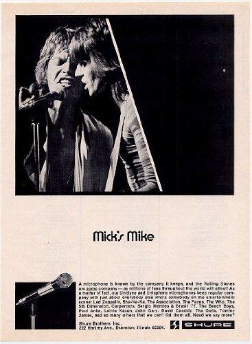 1974 Mick Jagger Rolling Stones Shure Microphone Photo Print Ad (Memorabilia) (57278)