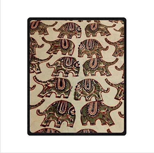 Retro Elephant Design Batik Fabric Custom Fleece Blanket 50 X 60 (Medium)