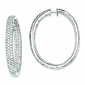 Genuine 14K White Gold Diamond In-Out Hinged Hoop Earrings 23.65 Grams of Gold