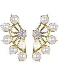 Designer American Diamond Pearl Earcuff Earrings 2 Pc Gift Set For Women By Shining Diva