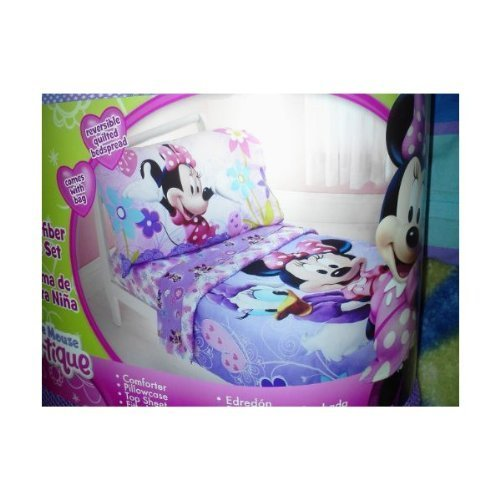 Disney Minnie Mouse 4pc Toddler Bedding Set Bow-tique Lavander - 1
