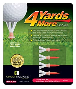 Greenkeepers 4 Yards More Golf Tee (Short Red, 1 3/4-Inch)