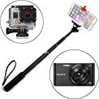 Ace3C All-in-One Selfie Stick Telescopic Handheld Pole Monopod for Cell phone, GoPro & Digital Camera Fun Holiday/ Party/ BBQ/ Family/ Sports Events, Compatible with GoPro HD Hero 4 3+ 3 2 Hero, Sony Action Cam HDR AS15 AS30V AS100VR AS100V AZ1VR AZ1, iPhone 6 (Plus) 5S 5C 5 4S 4 ipod, Samsung Galaxy S5 S4 S3, Note 4 3 2, LG G3 G2, Motorola, HTC, Sony, Nokia, Canon Nikon Mount Handheld Extendable Extension Pole