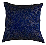 "That's Perfect® Beaded Vine 18""x18"" Decorative Silk Throw Pillow Cover (Blue)"