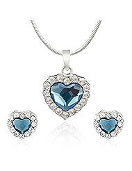 Mahi Rhodium Plated Montana Blue Titanic Heart Pendant Set Made With Swarovski Elements For Women NL1104119RBlu...