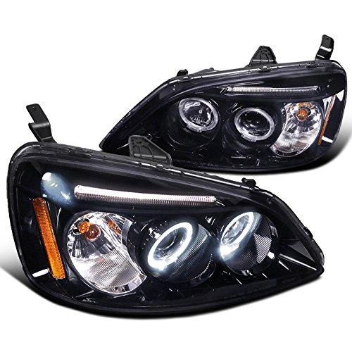 Spec-D Tuning 2LHP-CV01G-TM Honda Civic Dual Halo Led Glossy Black Projector Headlights (2001 Honda Civic Headlight Tint compare prices)