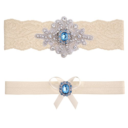 Blue Topaz Wedding Bridal Garter Set (Small (16