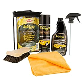 RaggTopp Fabric Convertible Top Cleaner/Protectant Kit - includes Fabric Cleaner and Industry finest Exterior Fabric Protectant with Application brush and now Free Custom Shop MicroFiber Cleaning Cloth
