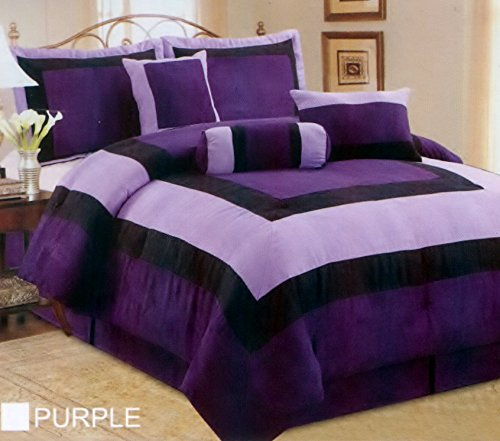 Fancy Collection 7Pc Luxury Purple Micro Suede Comforter Set Bed-In-A-Bag Queen Size Bedding front-802465