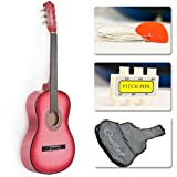 "Beginner 38"" Pink Acoustic Guitar Set with Gig Bag and Accessories"