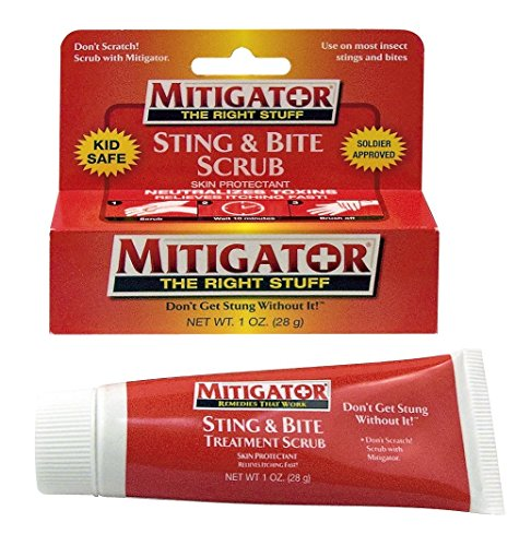 Mitigator Sting & Bite Scrub Treatment Skin Protectant Relieves Itching Fast!, 1 oz (Pack of 2)